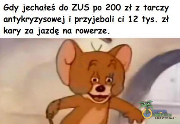 Gdy jechałeś do ZUS po 200 zł z tarczy antykryzysowej i przyjebali ci 12 tys. zł kary za jazdę na rowerze.