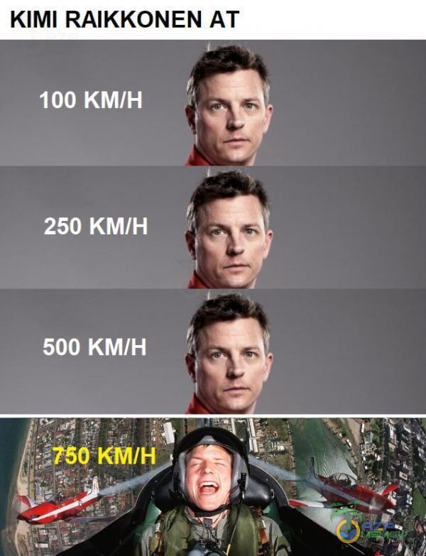 KIMI RAIKKONEN AT 100 KM/H 250 KM/H 500 KM/H *1760 KM/HÎ