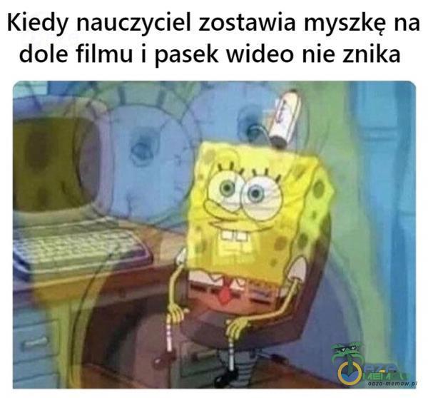Kiedy nauczyciel zostawia myszkę na dole filmu i pasek wideo nie znika