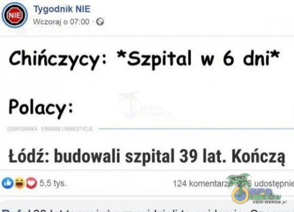 Tvgmtnm Nli w::wn &: w w [. Chińczycy: *Szpiłal w 6 dni* Polacy: Łódź: budowali szpital 39 lat. Kończą