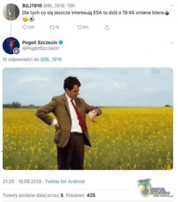 • 15h Dla tych co się jeszcze interesują ESA to dziś 019:45 zmiana lidera Pogoń Szczecin O PogonSzczecin W odpowiedzi do 21:20 • • Twitter...