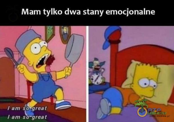 Mam tylko dwa stany emocjonalne