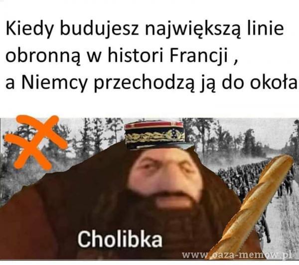 Kiedy budujesz największą linie obronną w histori Francji , a Niemcy przechodzą ją do Okoła Cholibka