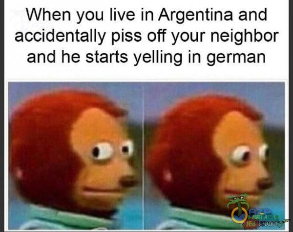 When you live in Argentina and accidentally Piss off your neighbor and he starłs yelling in german