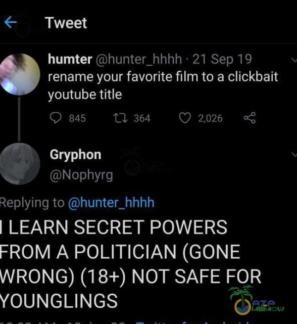 śr TWeet humter humi f_hhhh Ż] ?in I]; rename your favorite film to a clickbait youtube ?er : "