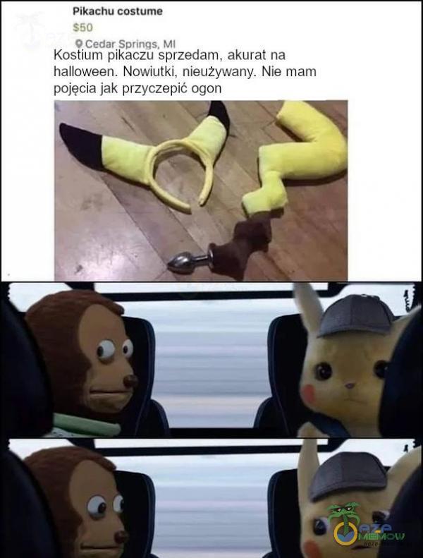 Pikachu costume S50 O Cedar Sprinqs. MI Kostium pikaczu sprzedam, akurat na halloween. Nowiutki, nieużywany. Nie mam pojęcia jak przyczepić ogon