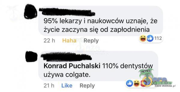 95% lekarzy | naukowców uznaje, że życie zacżyła się od zapłodnienia 22] REBlv Di: Konrad Puchalski 110% dentystów używa calgate. r] Liks Ney (Gw0 2
