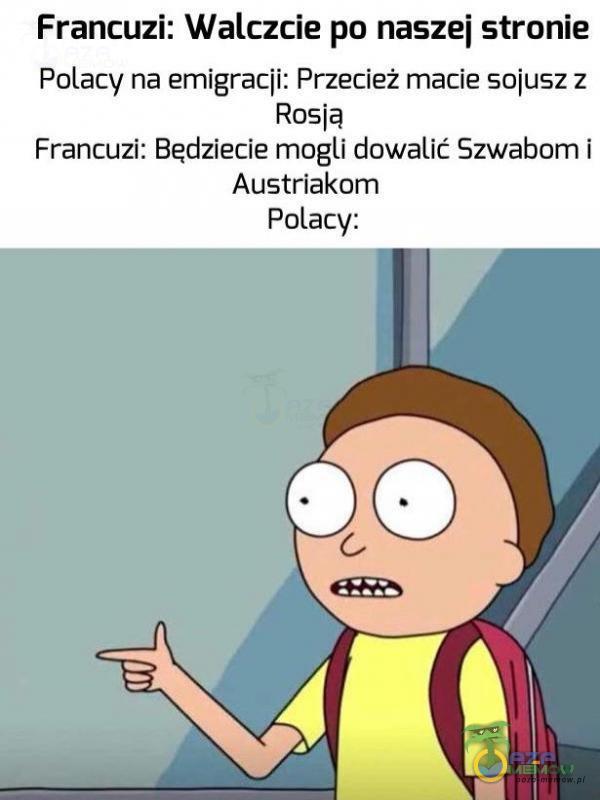Francuzi: Walczcie po naszej stronie Palacy na emigracji: Przecież macie sojusz:z Rosją Francuzi: Będziecie mogli dowalić Szwabom i Austriakom Polacy: