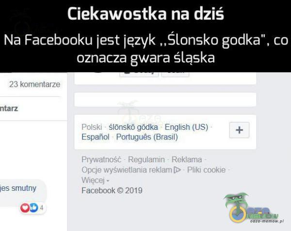 """Ciekawostka na dziś Na Facebooku jest język """"Ślonsko godka"""", co oznacza gwara śląska g"""