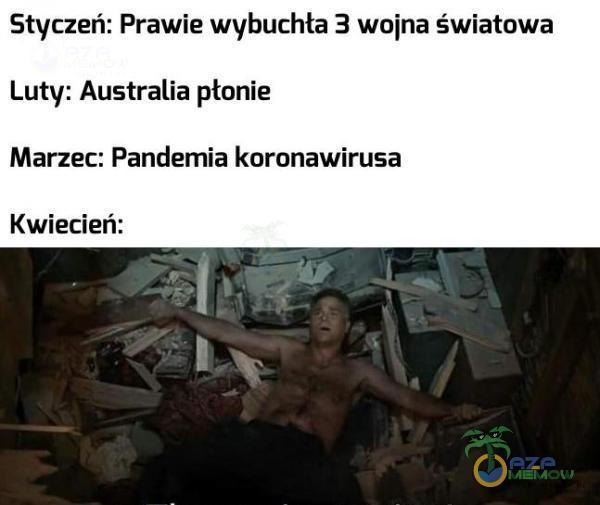 Styczeń: Prawie wybuchła 3 wojna światowa Luty: Australia płonie Marzec: Pańdemia koronawirusa Kwiecień:
