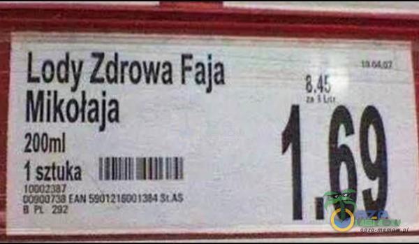 Lody Zdrowa Faja Mikołaja 200ml 11mm le-Elln llh . u l. 1 [69