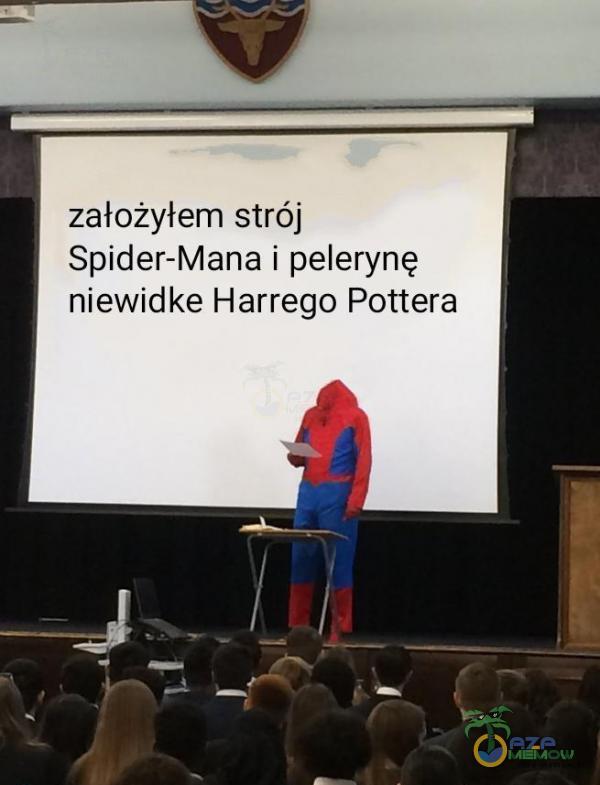założyłem strój Spider-Mana i peletynę niewidke Harrego Pottera