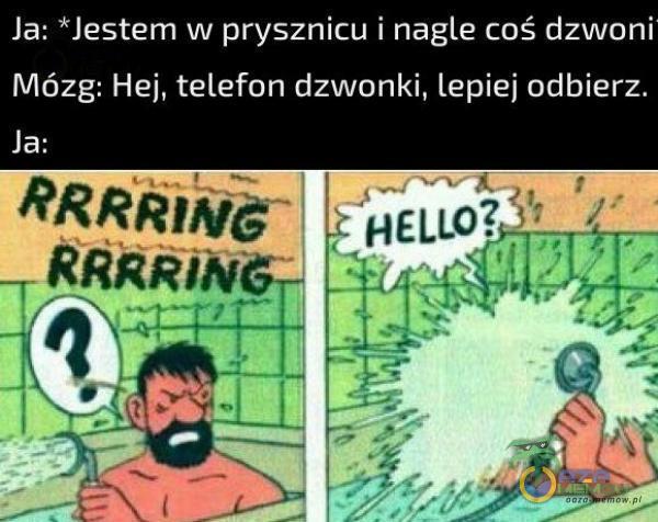 Ja: Jestem w prysznicu I nagle coś dzworii Mózg: Hej, telefon dzwonki, lepiej odbierz.