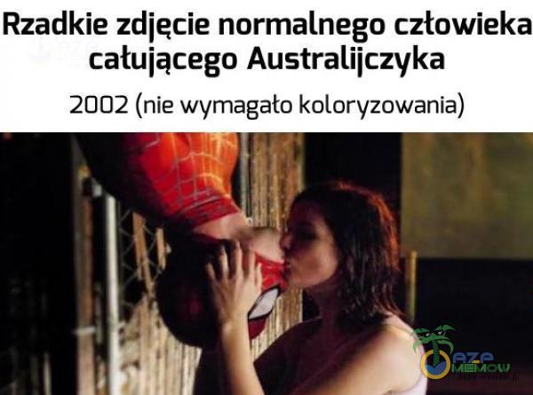 Rzadkie zdiecie normalnego człowieka całuiącego Australiiczvka 2002 (nie wymagało k oloryzowania