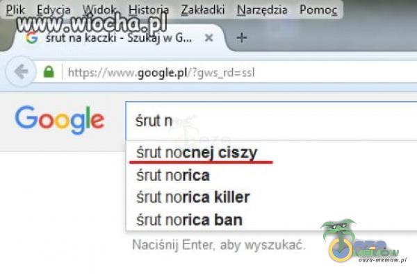 Zakładki Narzędzia Pomoc wiochâ- 5;?gvvĘ_rd=î51 Google śrut n śrut nocnej ciszy śrut norica śrut norica killer śrut norica ban NacłSniJ Enter. aby wyszukać.
