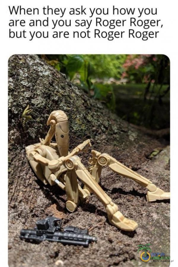 When they ask you how you are and you say Roger Roger, but you are not Roger Roger
