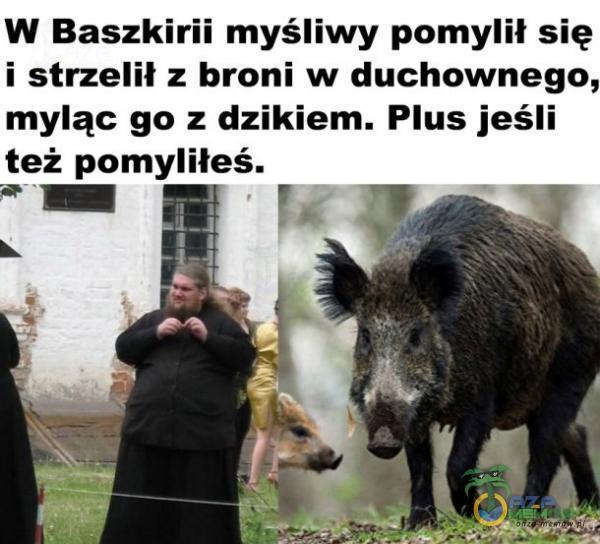 W Baszkirii myśliwy pomylił się i strzelił z broni w duchownego, myląc go z dzikiem. Plus jeśli też pomyliłeś.
