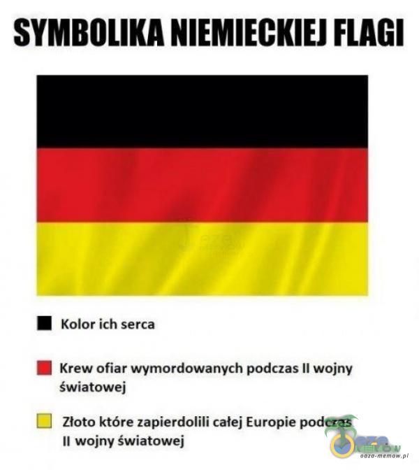 SYMBOLIKA NIEMIECKIEJ FLAGI HM kolor ich serca SI krewofiar wymordowanych podczas li wojny światowej | Złoto które zapierdojili calej Europie podczas it wejny światówej