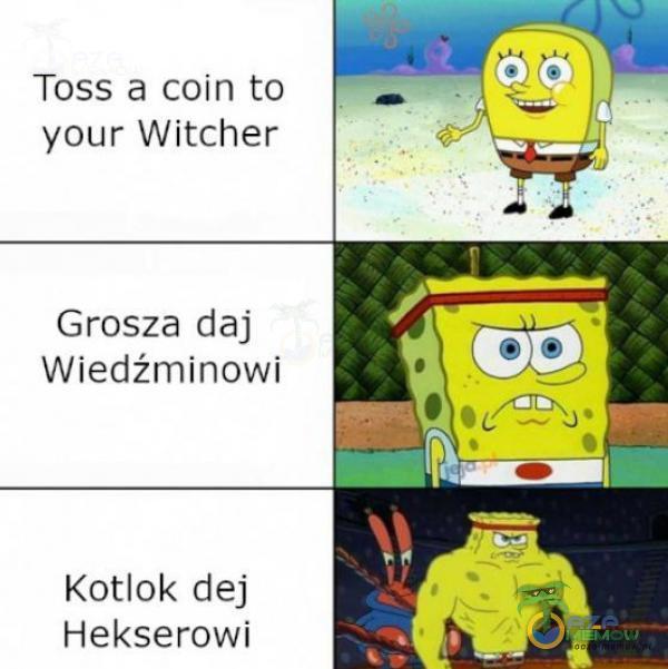 Toss & coin to your Witcher Grosza daj Wiedźminowi Kotlok dej Hekserowvl