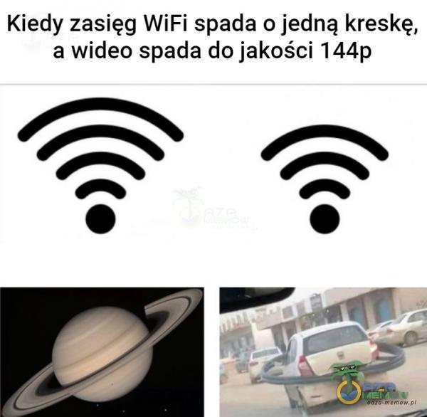 Kiedy zasięg WiFi spada o jedną kreskę, a wideo spada do jakości 144p
