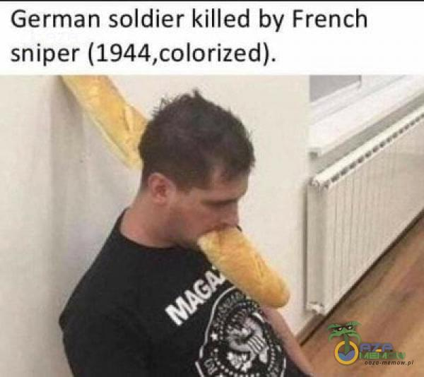 German soldier killed by French sniper (1944,colorized).
