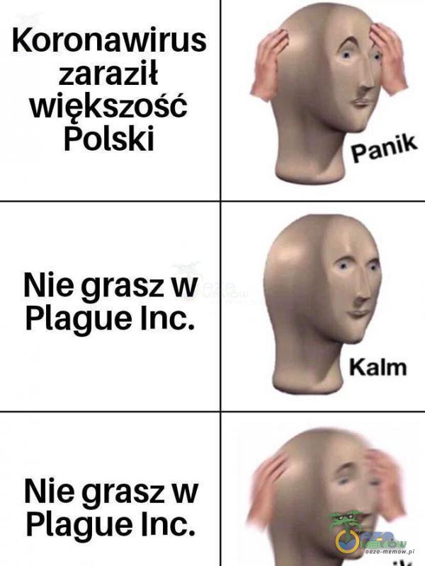Koronawirus zaraził większość Polski Nie grasz w Plague Inc. Kalm Nie grasz w Plague Inc.
