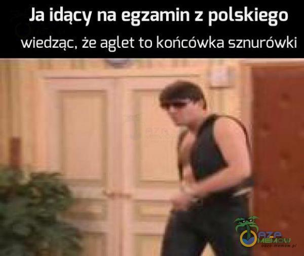 Ia idący na egzamin z polskiego wiedząc. że aglet totknń cńwkarsznurówkl