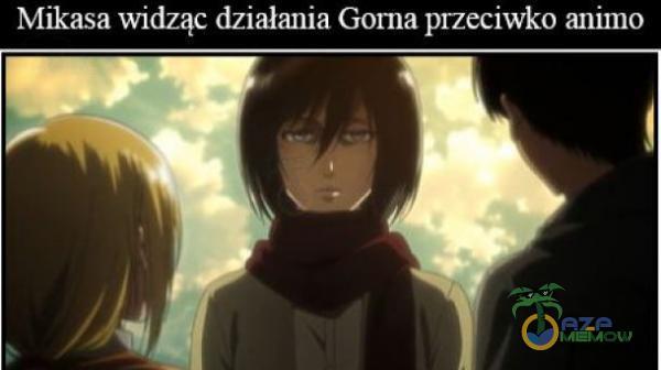 Mikasa widząć działania Gorna przeciwko arimo