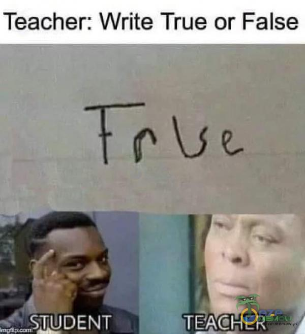 "Teacher: Write True or False SLIDENT h""TEACHER"