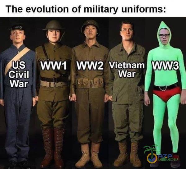 The evolution of military uniforms: WWS _ Wśr I? I