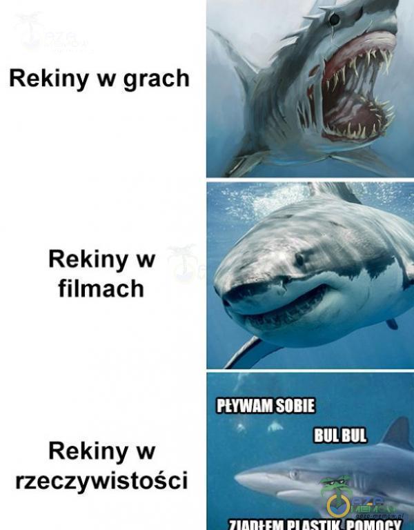 Rekiny w grach Rekiny w filmach KE zt u. = Rekiny w LU rzeczywistości