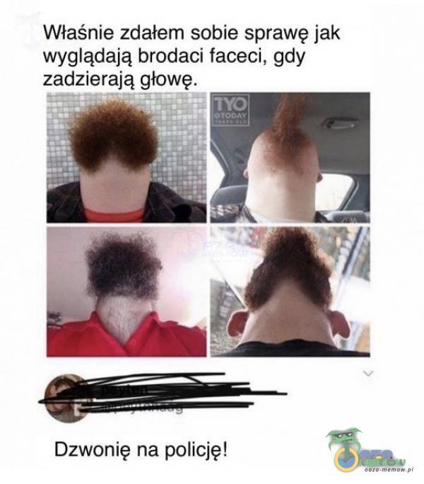 Właśnie zdałem sobie sprawę jak wyglądają brodaci faceci, gdy zadzierają głowę: Dzwonię na policję!