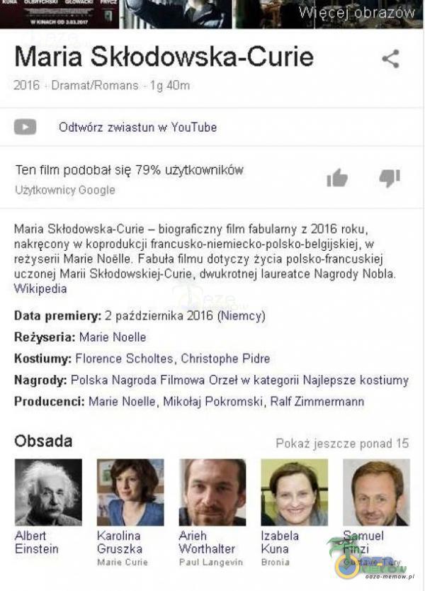 Maria Skłodowska-Curie = Mio ioamfsiman= lnu Pe Owtworezwkastun» (aulube Ten Alm pewitległ się 79% użytkiwyyiiażue y: g Ust=mmir mgle Harta Siładowreka-Gilfte— hinyraficżny film fabuttamy z ZOE raka nakręcony w Koprocoktji feetrie...