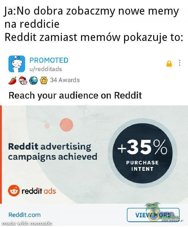 "Ja:No dobra zobaczmy nowe mamy na reddicie Reddit zamiast memów pokazuje to: . _ PRDMCTED : wer-HME . . A ""::? Jun-51m Reach your audience on Reddit Reddit advertising campaigns achieved +35% PURCHASE INTEN T reddit ucls Red-dlt VIEW MORE .w. , . w"