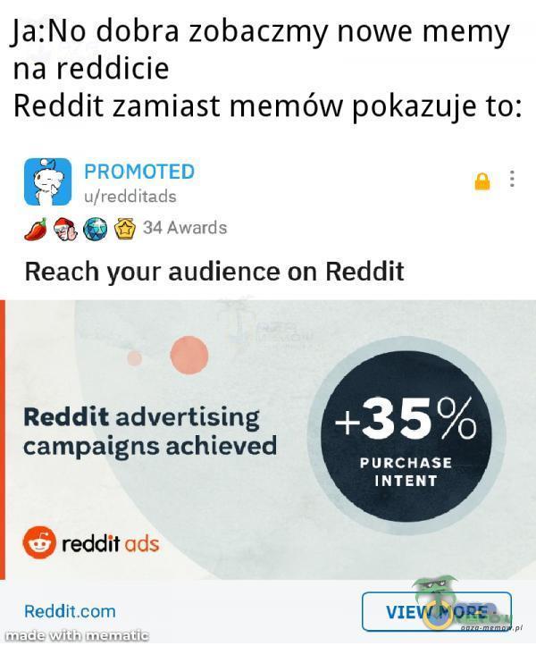 "Ja:No dobra zobaczmy nowe mamy na reddicie Reddit zamiast memów pokazuje to: . _ PRDMCTED : wer-HME . . A ""::? Jun-51m Reach your audience on Reddit Reddit advertising campaigns achieved +35% PURCHASE INTEN T reddit ucls Red-dlt VIEW MORE .w. , ...."