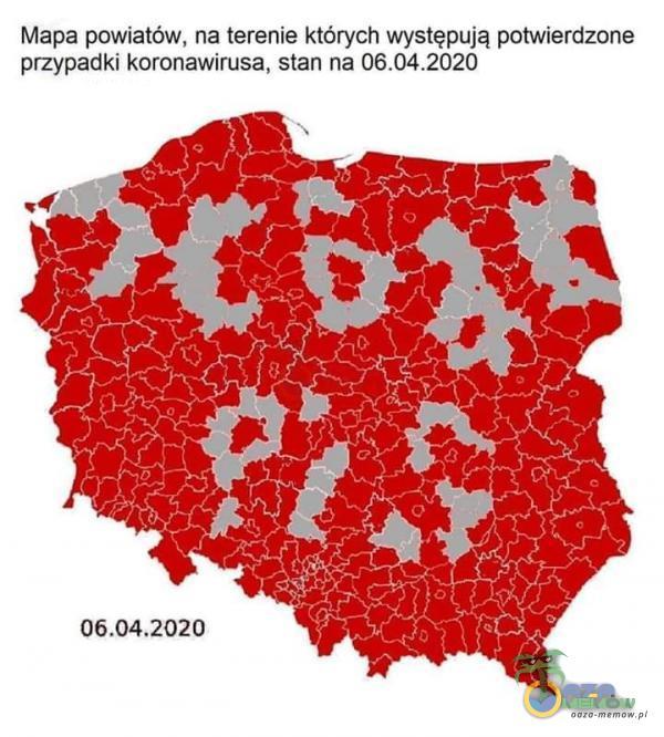 Mapa powiatów. na terenie których występują potwierdzone przypadki koronawirusa, stan na