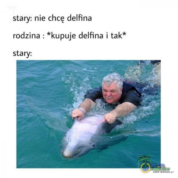 stary: nie chcę delfina rodziną : *kupuje delfina i tak* stary: