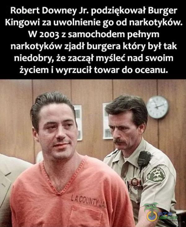 Robert Downey Jr. podziękował Burger Kingowi za uwolnienie go od narkotyków. w zoo; z samochodem pełnym narkotyków zjadł burgera który był tak niedobry, że zaczął myśleć nad swoim życiem i wyrzucił towar do oceanu.