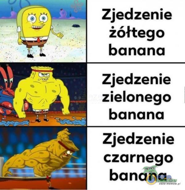 Zjedzenie żółtego banana Zjedzenie zielonego banana Zjedzenie czarnego banana