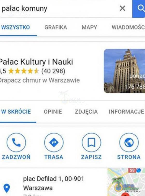 """pjałac komuny X WYETH] """"GRAFIKI: MNW WIADOMOSE ?ałao Kultury i Nauki  _5 . ł- - (na 298) Jramnz :hmux w Wami-vie wam:-mt mamu; zńJĘćm mnnmue . TRASA ZAPISZ. 57mm: płac Defilad 1. 00-901 .- 0 Warszawa -. a. .7 _"""