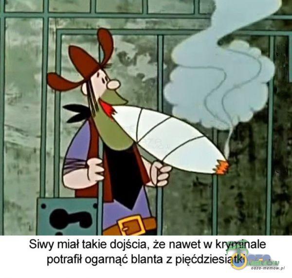Siwy miał takie dojścia, że nawet w kryminale potrafił ogarnąć blanta z pięćdziesiątki