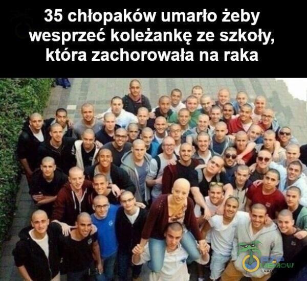 35 chłopaków umarło żeby wesprzeć koleżankę ze szkoły, która zachorowała na raka