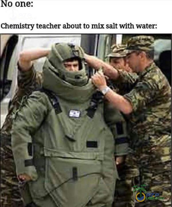 Chemistry teacher about to nux salt with water.