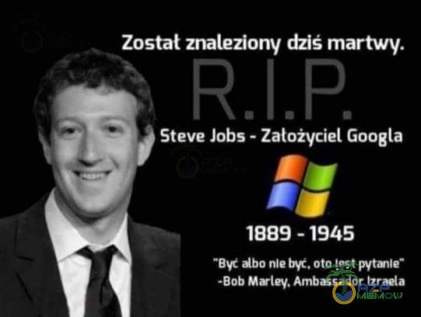 """Zastał znaleziony dziś martwy. DEL pa Googla 1945 Być ałho niebyć. ata jest piytaiia"""" LO LI"""