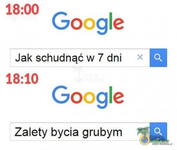 18:00 Google Jak schudnąćw 7 dni * EH 18:10 Google Zalety bycia grubym = [EJ