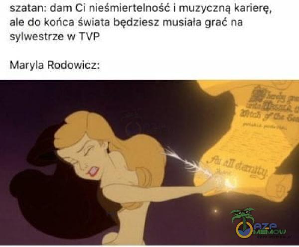 szatan: dam Ci nieśmiertelność i muzyczną karierę, ale do końca świata będziesz musiała grać na sylwestrze w TVP Maryla Rodowicz: