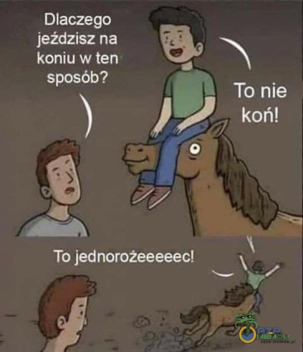 Dlaczego jeździsz na koniu w ten sposób? To nie koń! To jednorożeeeeec!