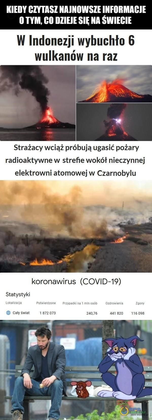 Ugr y I BWT LTR OTYM, GO DZIEJE SIĘ NA ŚWIECIE W Indonezji wyhuchło 6 wulkanów na raz Strażacy wciąż próbują ugasić pożary radioaktywne w strefie wokół nieczynnej elektrowni atomowej w Czarnobylu koronawirus (COVID-19) Statystyki T...
