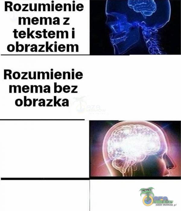 Rozumienie mema z tekstemi obrazkiem Rozumienie mema bez obrazka