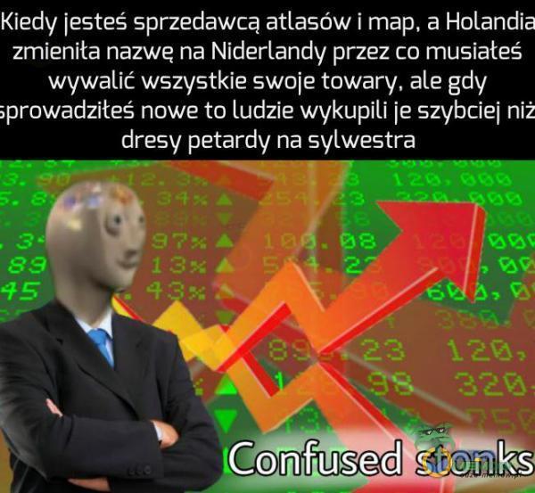 Kiedy jesteś spnedawca attasńw i map. a Holandia zmieniła nazwę na Niderlandy przez co musiałeś. wywalic wszystkie swoje towary. ale gdy ;prowadziłeś. nowe to Ludzie wykupili ie szx/bciei niż dresy petardy na sylwestra